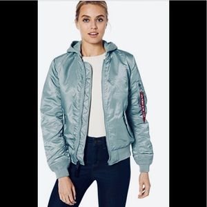 Alpha industry flight jacket with a removable hood